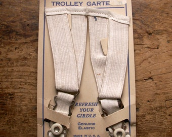 Vintage NYNCO Replacement Trolley Garters on Original Card - To 'Refresh Your Girdle'