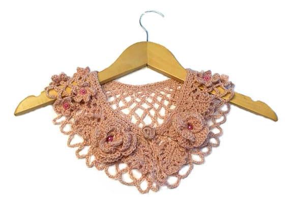 Handmade crochet collar, neck accessory in light pink cherry blossom colour