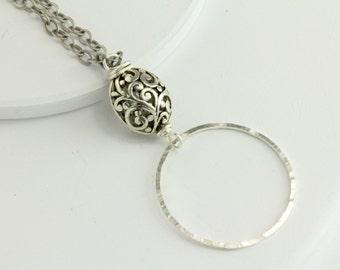 Loop Eyeglass Lanyard Chain, Silver Loop Eyeglass Necklace, Silver Eyeglass Chain, Eyeglass Chain, Silver Eyeglass Necklace, Glasses Chain