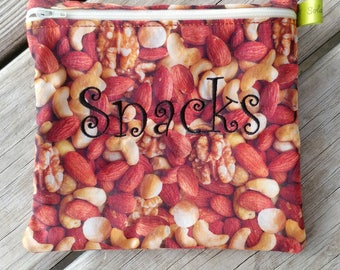 Reusable Sandwich Bag, Reusable snack bag, Nuts, Healthy, Fresh, Personalized Gift, washable bag lunch bag washable sandwich bag snack bag