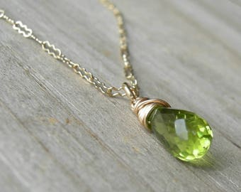 Tiny Peridot Gold Fill Wire Wrapped Necklace August Birthstone