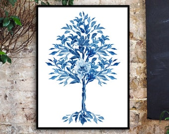 Cobalt Blue Big Flower Tree Art Print, Watercolor Illustration, Peonies Poster, Wall Decor