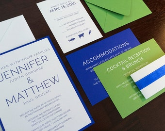 Modern Blue and Green Wedding Invitation