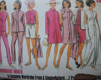 vintage 1960s Butterick sewing pattern 4774 misses coat jacket dress blouse pants and shorts size 12