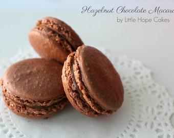 Chocolate Hazelnut French Macarons