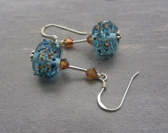 Lampwork Earrings Blue Earrings Glass Bead Earrings Dangle Drop Earrings Handmade Earrings SRAJD USA Handmade