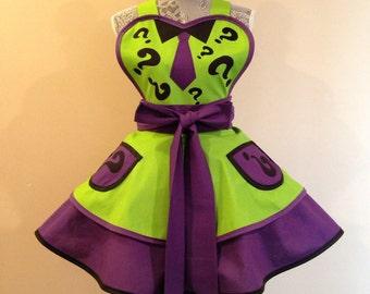 Riddler - Riddler apron - Riddler Costume - Retro Apron - Costume apron - Cosplay Apron