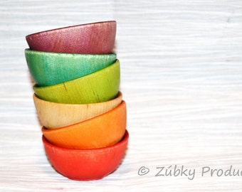 Toddler Waldorf Rainbow Sorting Bowls by Zúbky - Waldorf Montessori Game for Children