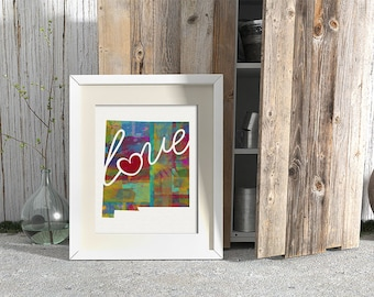 New Mexico Love - NM Canvas Paper Print:  Grunge, Watercolor, Rustic, Whimsical, Colorful, Digital, Silhouette, Heart, State, United States