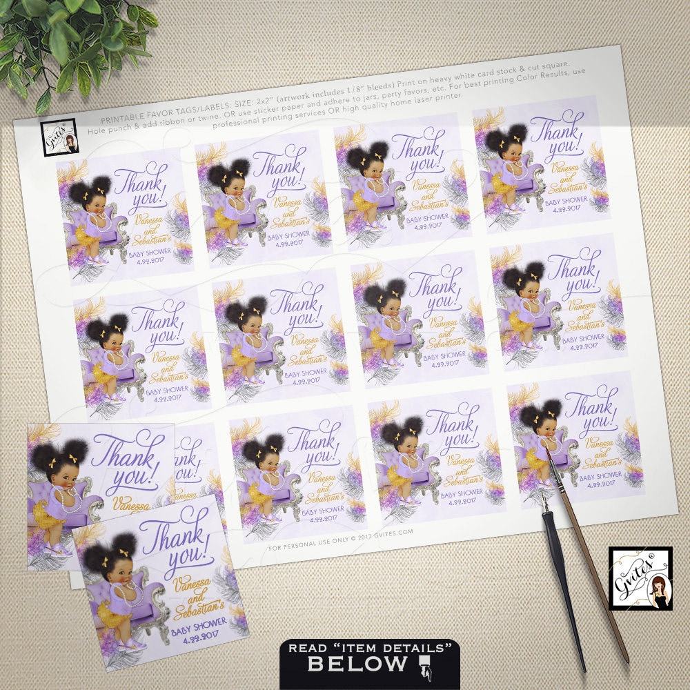 Baby shower thank you tags favor tags toppers personalized gift baby shower thank you tags favor tags toppers personalized gift tag african american baby stickers labels printable 2x2 12per sheet negle Choice Image