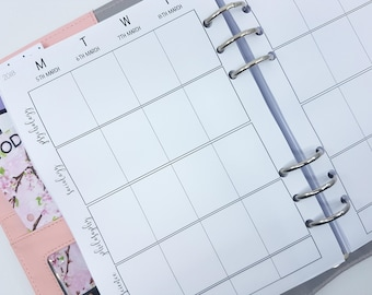 A5 Family or Study Printed Planner inserts or study planner inserts | Week on Two Pages (WO2P) dated planner inserts  | choose names