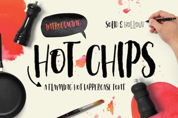 Digital Font Hot Chips - Digital Typeface - Hand drawn all caps font - Instant Download