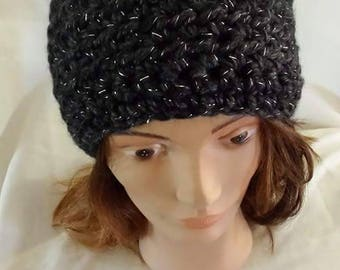 Chunky, crochet hat with metallic sparkle