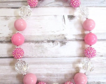 Pink Baby Chunky Necklace, Baby Necklace, Toddler Chunky Bead Necklace, Girl Necklace, Girl Jewelry, Necklace for Girls
