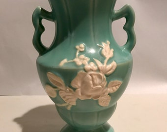 Vintage Weller Green Cameo Vase