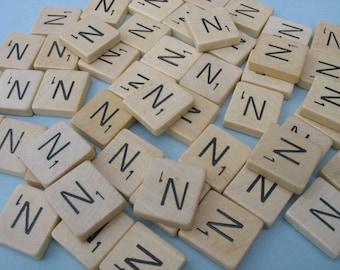 50 pcs bulk Scrabble letter tiles, complete set, wooden letters, game pieces