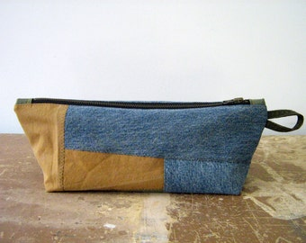 Salvaged Army Canvas and Denim Zip Pouch, Makeup Bag, Man Bag, Pencil Case, fully lined, handmade in Maine, USA