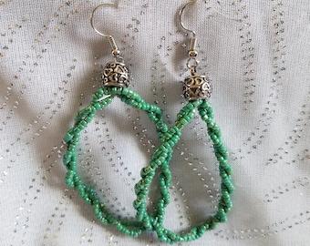 Dragonfly Green Chandelier Earrings