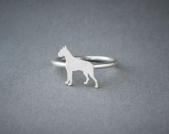 BOXER RING / Boxer Dog Ring / Silver Dog Ring / Dog Breed Ring / Silver, Gold Plated or Rose Plated.