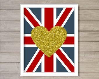 Love Union Jack Glitter Gold Heart -8x10- Instant Download Printable Nursery Wall Art London England UK English British Flag Room Home Decor