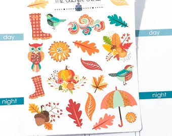 Hello Autumn Deco | Planner Stickers, Weekly Kit, fall leaves deco, fall Weekly Kit, pumpkin deco, Vertical Planner Kit, Full Weekly Kit