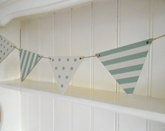 Castle Grey Spots and Stripes Bunting-Hand Painted Wood Garland-Reversible-Shabby Chic-Home Decor-Nursery Decor-Gift for Her-Gift for Teens