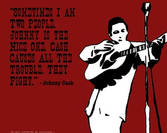 Johnny Cash with Quote Art Print