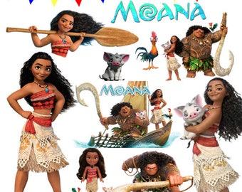 Moana Clipart, Moana Clipart Design, Moana Birthday, Moana Instant download, Moana PNG, Moana digital file, Moana scrapbook, Moana digital