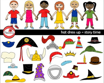 Hat Dress Up Story Time Digital Clip Art: Police Fireman Military Pirate Wizard Clown Detective Astronaut Magician Crown Chef Viking Clipart