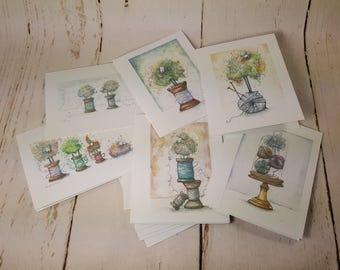Sheep Greeting Card (Original artwork by Kristin Farnsworth) Set of 6 Blank Cards & Envelopes  GC0002
