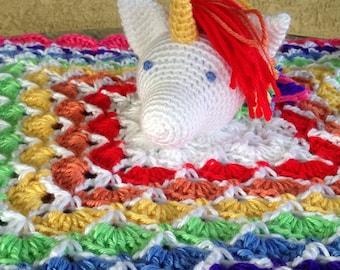 Crochet Rainbow Unicorn Baby Snuggle Blanket, white pink multicolored Stuffed Toy Baby Girl Gift Lovie Cuddle vegan washable MADE TO ORDER