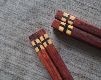 2 Pairs Wooden Chopsticks Hairpin Unique Design & High Quality 100% Handmade
