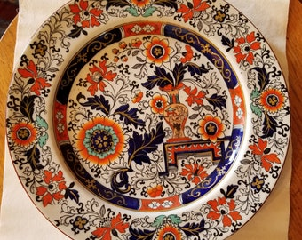 """Antique Mason's Ironstone """"Old Japan"""" Hand-Painted Plate 1890s Imari Colors"""