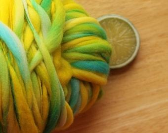 Canary - Handspun Hand Dyed Merino Wool Yarn Yellow Blue Thick and Thin Skein