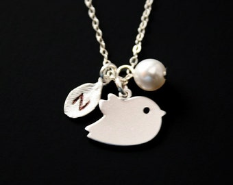Personalize bird and initial Leaf and Pearl necklace - Sterling Silver, initialed leaf necklace, hand stamped engraved monogrammed necklace