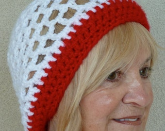Women's chemo hat, unique red and white head web, open weaved hat, bad hair day hat, women's winter crochet hat free shipping USA