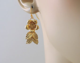Gold Earrings - Flower Earrings - Wedding Earrings - Dangle Earrings - Handmade Jewelry