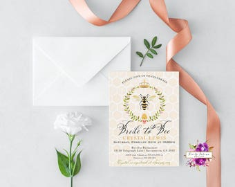 Bride to Bee - Bridal Shower Invitation - Bumble Bee - Green Wreath - Crown - Bride to Bee Bridal Shower - Printable  Digital Invitation