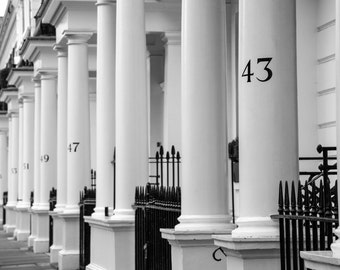 London Photography - Onslow Square - Terraced Houses - South Kensington - Black and White Print