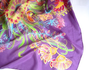 Violet scarf Purple silk scarf square Gift for women Violet silk scarf Lightweight scarf Head silk scarf Aubergine scarf Purple head scarf