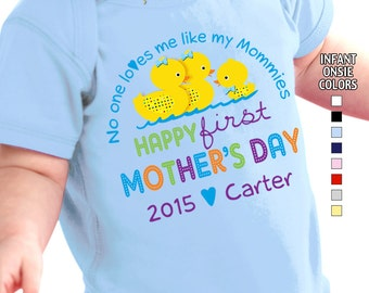Happy First Mother's Day - No One Loves me Like my Mommies Bodysuit - Boys - Personalized w/Name & Year (Gay / Lesbian / 2 Mommies)