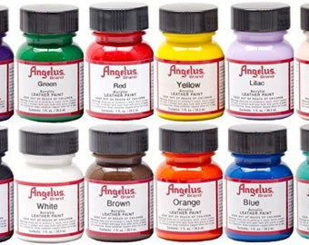 Angelus Acrylic Leather Paints 1 oz Leather Vinyl Paint Ideal For Painting Western Boots, Belts, Tennis Shoes, Purses, Jackets