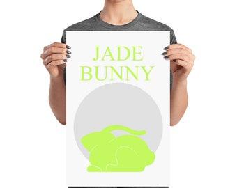 Typographic Poster -Word Art Print -  Rabbit Print - Moon Picture - Modern Art Print -