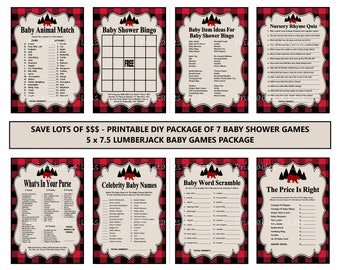 Lumberjack Baby Game, Printable Lumberjack Bingo, Black Red Buffalo Plaid Baby Animal Game, Lumberjack Purse Game - Printables 4 Less 0147