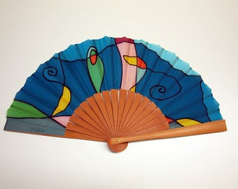 Handpainted Silk hand fan- Wedding hand fan-Abanico- Giveaways-Bridesmaids- Spanish hand fan-Blue-Pink-Green 14 x 7.5 inches (35 cm x 19 cm)