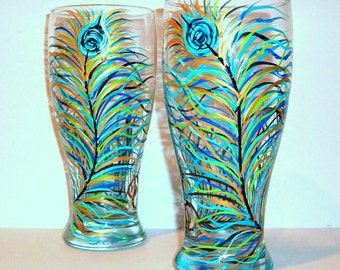 Peacock Feather Beer Glasses Set of 2 / 20 oz Hand Painted Pilsner Beer Glasses Painted Peacock Glassware Made to Order Painted Glasses