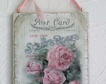 Shabby Rose Plaque Chic Sign Wall Hanging Home Decor
