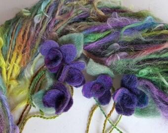 Handspun Art yarn AFRICAN VIOLETS suri alpaca yarn with felted flowers