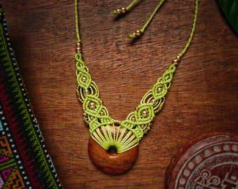 Guyana wooden pistachio green macrame necklace