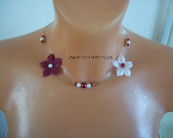 Bridal necklace wedding bridesmaid silk flower beads in Burgundy / white or ivory evening child woman